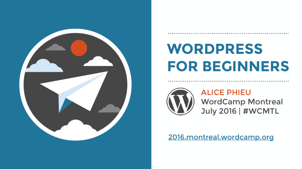Cover Page for the slides from WordPress For Beginners workshop